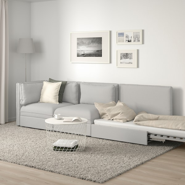 VALLENTUNA 3-seat modular sofa with sofa-bed, with open end/Orrsta light grey