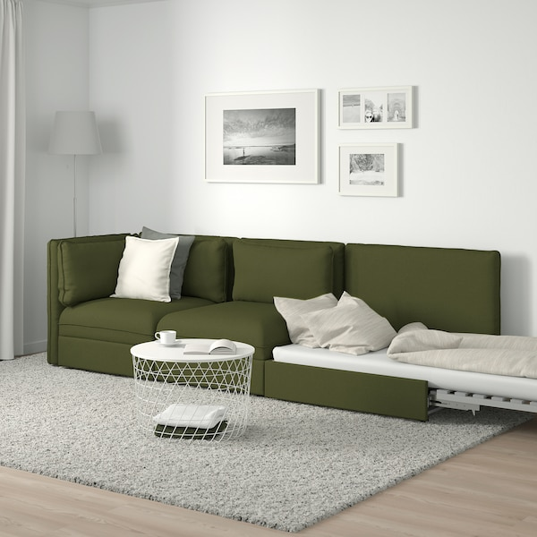 VALLENTUNA 3-seat modular sofa with sofa-bed, with open end/Orrsta olive-green