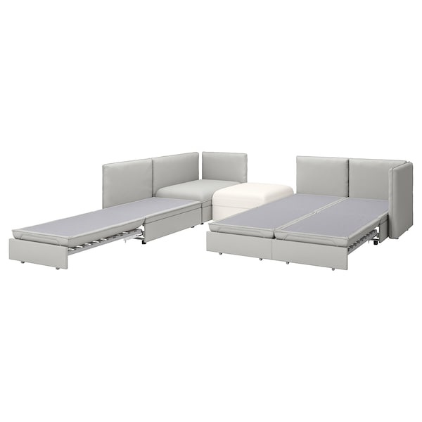 VALLENTUNA 4-seat modular sofa w 3 sofa-beds, and storage/Orrsta/Murum light grey/white
