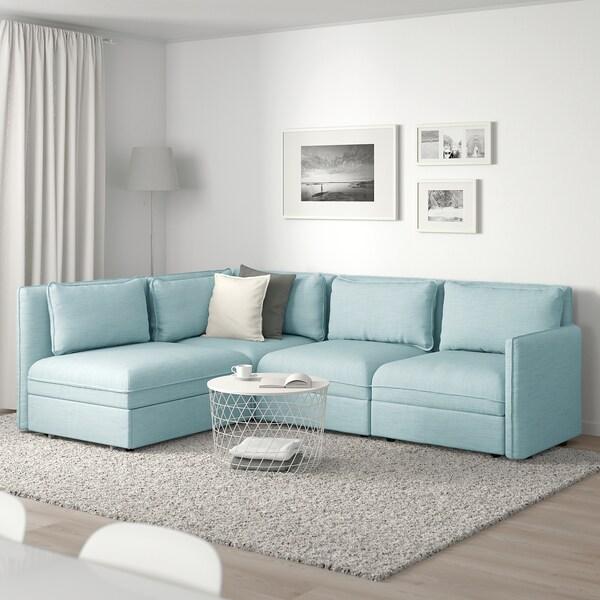 VALLENTUNA Modular corner sofa 3-seat+sofa-bed, and storage/Hillared light blue