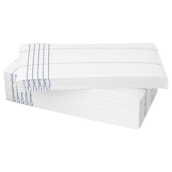 VERKLIGHET paper napkin white/blue 38 cm 38 cm 30 pack