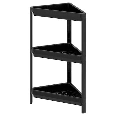 VESKEN Corner shelf unit, black, 33x33x71 cm