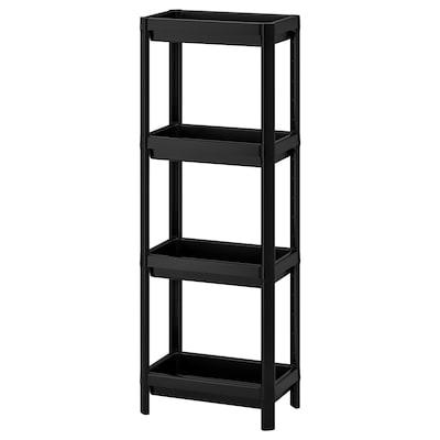 VESKEN Shelf unit, black, 36x23x100 cm