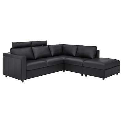 VIMLE Corner sofa, 4-seat, with open end with headrests/Grann/Bomstad black