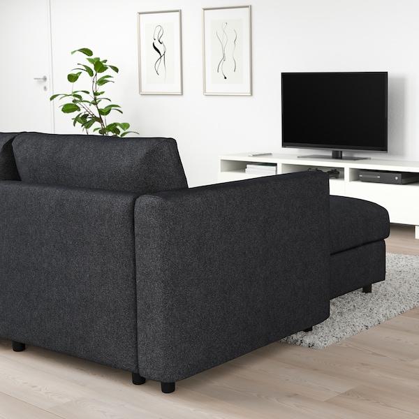 VIMLE كنبة زاوية، 5 مقاعد, مع أريكة طويلة/Tallmyra أسود/رمادي