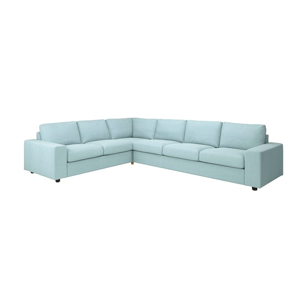 VIMLE Cover for corner sofa, 5-seat, with wide armrests/Saxemara light blue