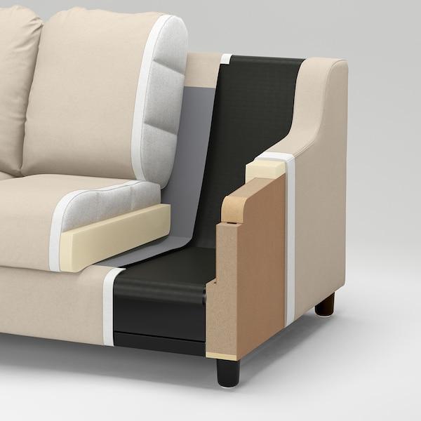 VINLIDEN كنبة بثلاث مقاعد مع أريكة طويلة, Hakebo رمادي غامق