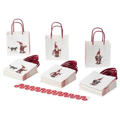 VINTER 2020 كيس هدايا, نقش بابا نويل أبيض, 10x10 سم