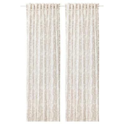 VINTERJASMIN Curtains, 1 pair, white/beige, 145x300 cm