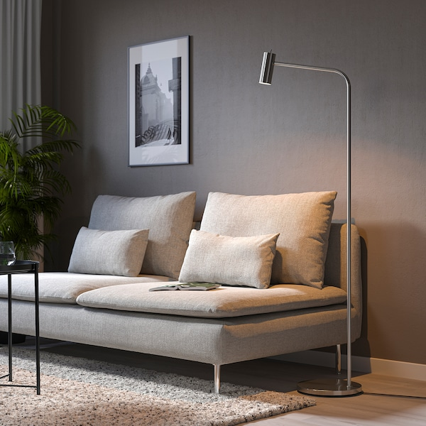VIRRMO Floor/reading lamp, nickel-plated, 145 cm