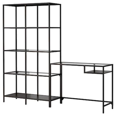 VITTSJÖ Shelving unit with laptop table, black-brown/glass, 200x36x175 cm
