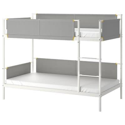 VITVAL إطار سرير بطابقين., أبيض/رمادي فاتح, 90x200 سم