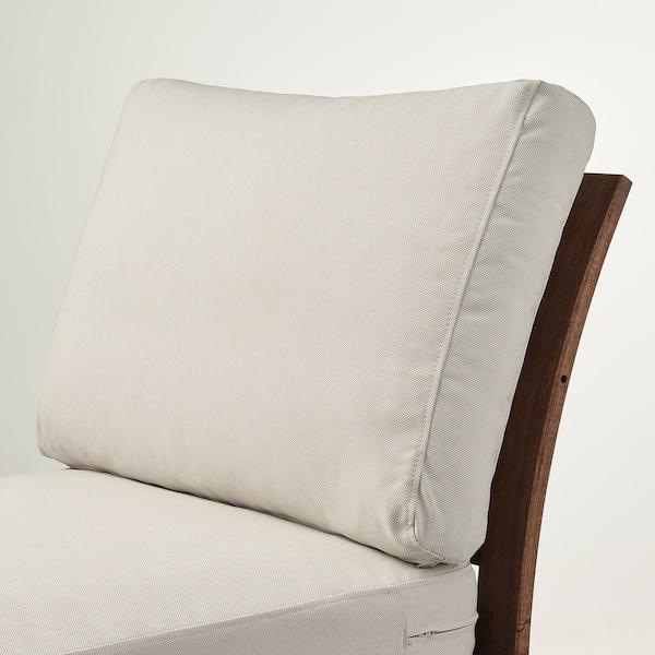ÄPPLARÖ Easy chair, outdoor, brown stained/Frösön/Duvholmen beige, 63x80x84 cm