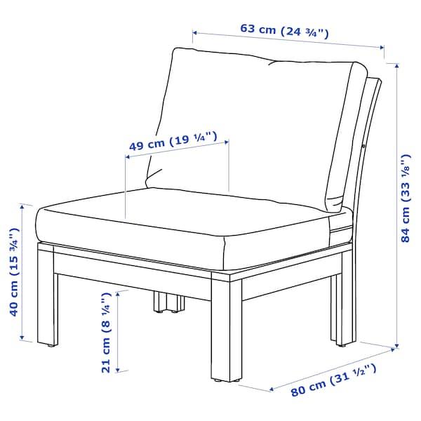 ÄPPLARÖ Easy chair, outdoor, brown stained/Frösön/Duvholmen blue, 63x80x84 cm
