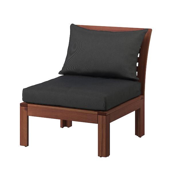 ÄPPLARÖ Easy chair, outdoor, brown stained/Hållö black, 63x80x78 cm
