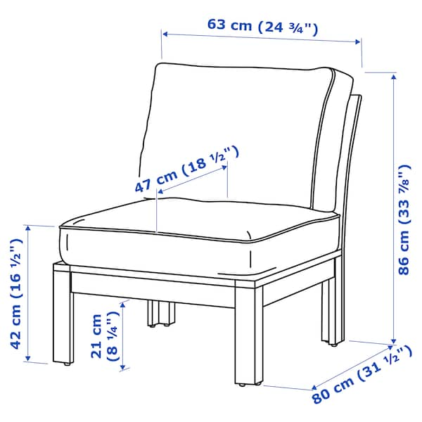ÄPPLARÖ Easy chair, outdoor, brown stained/Järpön/Duvholmen white, 63x80x86 cm