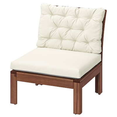 ÄPPLARÖ Easy chair, outdoor, brown stained/Kuddarna beige, 63x80 cm