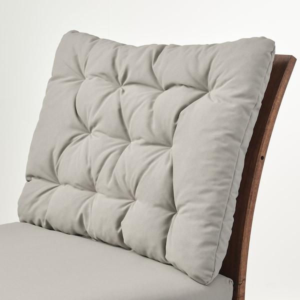ÄPPLARÖ Easy chair, outdoor, brown stained/Kuddarna grey, 63x80 cm