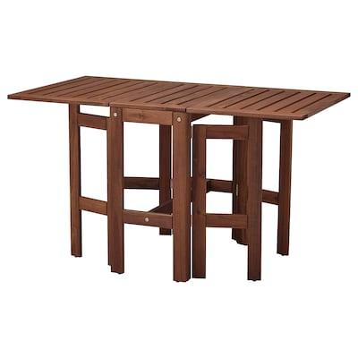 ÄPPLARÖ Gateleg table, outdoor, brown stained, 34/83/131x70 cm