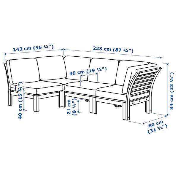 ÄPPLARÖ Modular corner sofa 3-seat, outdoor, brown stained/Frösön/Duvholmen blue, 143/223x80x84 cm
