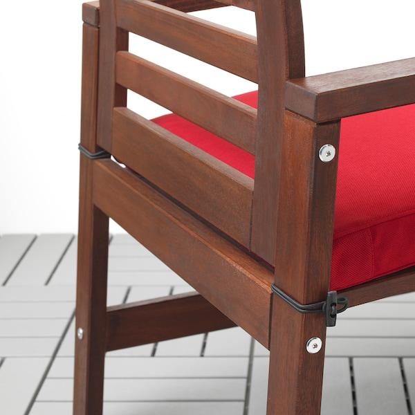 ÄPPLARÖ Table+4 chairs w armrests, outdoor, brown stained/Frösön/Duvholmen red