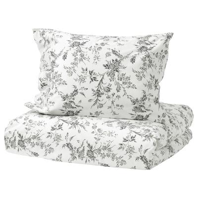 ALVINE KVIST Quilt cover and pillowcase, white/grey, 150x200/50x60 cm