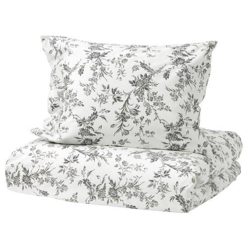 ALVINE KVIST quilt cover and pillowcase white/grey 182 /inch² 200 cm 150 cm 50 cm 60 cm