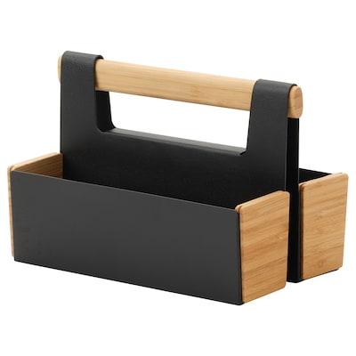 ANILINARE Desk organiser, bamboo/black, 18x13 cm