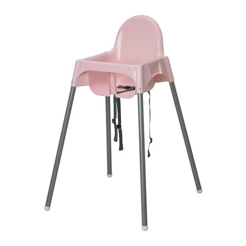Antilop Highchair With Safety Belt Pink Silver Colour Ikea