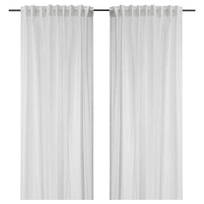 ASKKLOCKA Sheer curtains, 1 pair, white, 145x198 cm