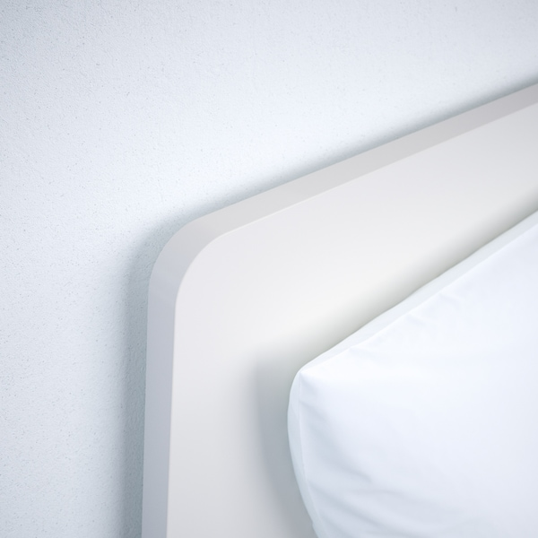 ASKVOLL Bed with headboard, white, 90x200 cm