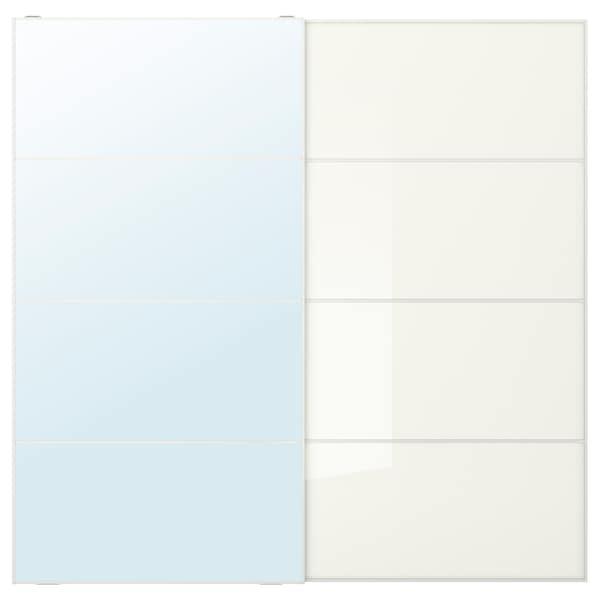 AULI / FÄRVIK Pair of sliding doors, mirror glass/white glass, 200x201 cm