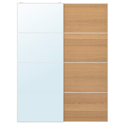 AULI / MEHAMN Pair of sliding doors, mirror glass/oak effect, 150x201 cm