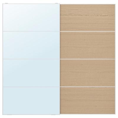 AULI / MEHAMN Pair of sliding doors, mirror glass/white stained oak effect, 200x201 cm