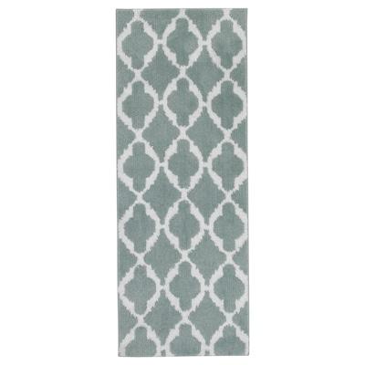 AUNING Kitchen mat, light green/white, 45x120 cm