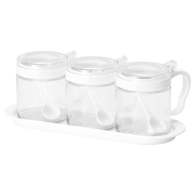 BÄRKORG Spice jar, glass/plastic, 36 cl 3 pack