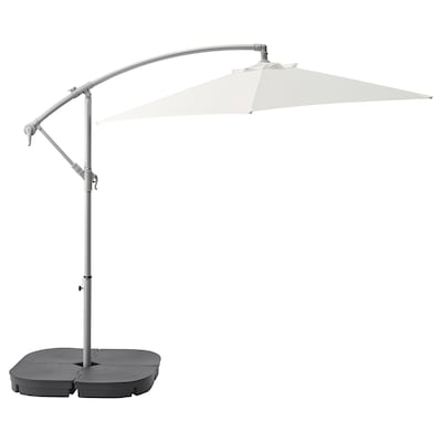 BAGGÖN / SVARTÖ Parasol, hanging with base, white/dark grey