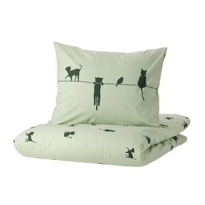 BARNDRÖM Duvet cover and pillowcase, cat pattern/green, 150x200/50x60 cm