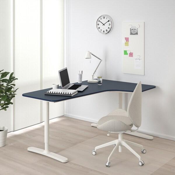 BEKANT Corner desk right, linoleum blue/white, 160x110 cm