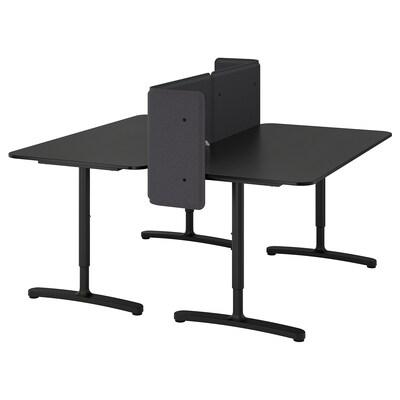 BEKANT Desk with screen, black stained ash veneer/black, 160x160 55 cm