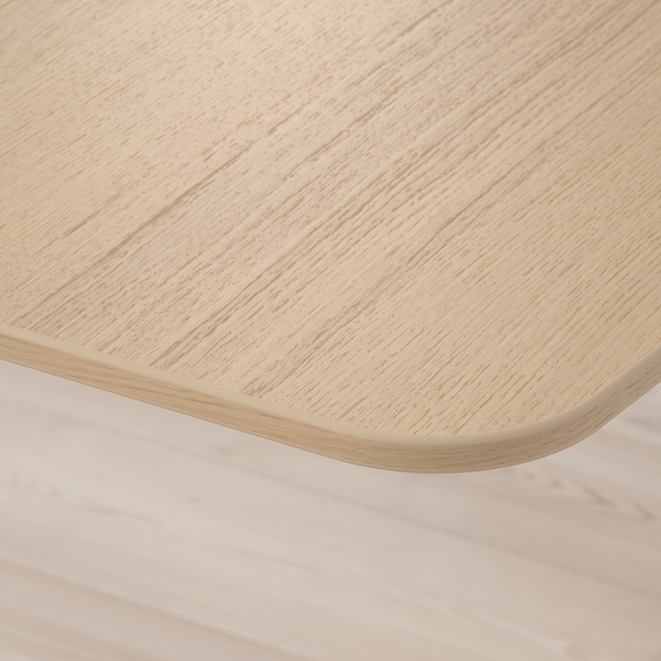 BEKANT Reception desk sit/stand, white stained oak veneer/black, 160x80 120 cm