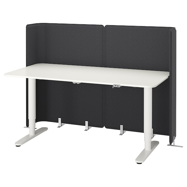 BEKANT Reception desk sit/stand, white, 160x80 120 cm