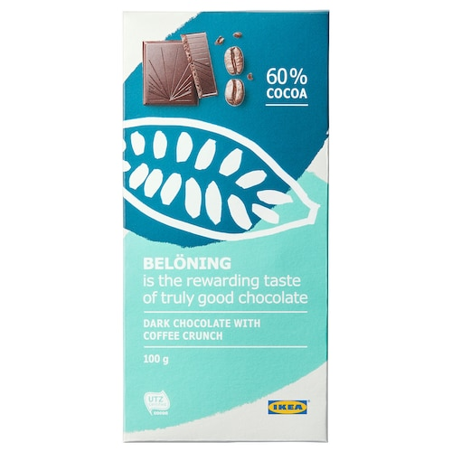 BELÖNING dark chocolate tablet 60% coffee crunch UTZ certified 100 g