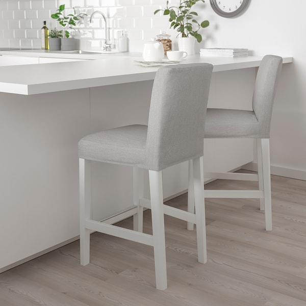 BERGMUND Bar stool with backrest, white/Orrsta light grey, 62 cm