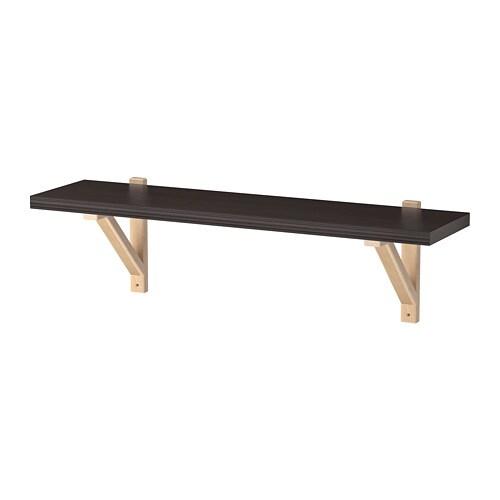 B Organised Wandplank.Bergshult Ekby Valter Wall Shelf Brown Black Birch Ikea