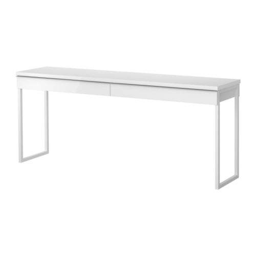 Best burs desk high gloss white 180x40 cm ikea for Bureau 40 cm diep