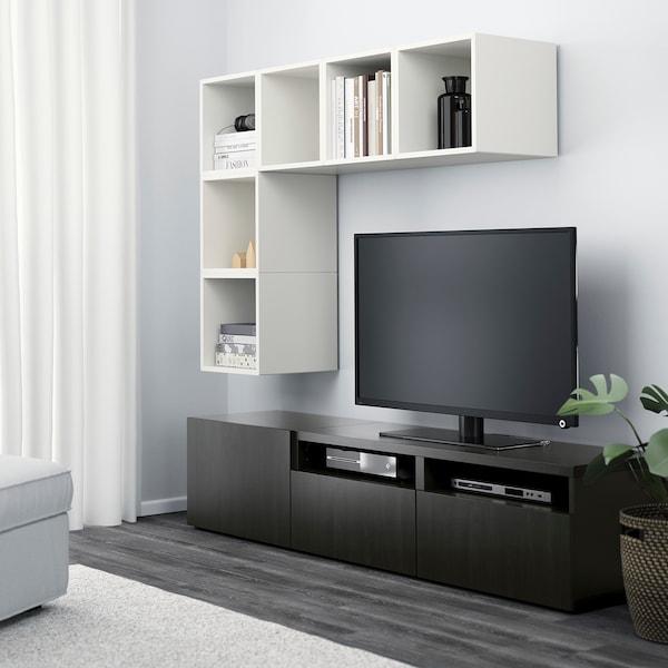 BESTÅ / EKET cabinet combination for TV white/black-brown 70 cm 180 cm 40 cm 170 cm