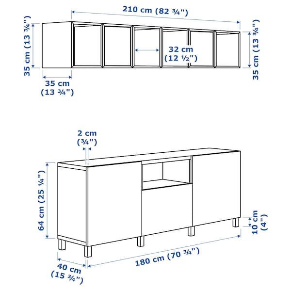 BESTÅ / EKET Cabinet combination for TV, white light grey/dark grey/golden-brown, 210x40x220 cm