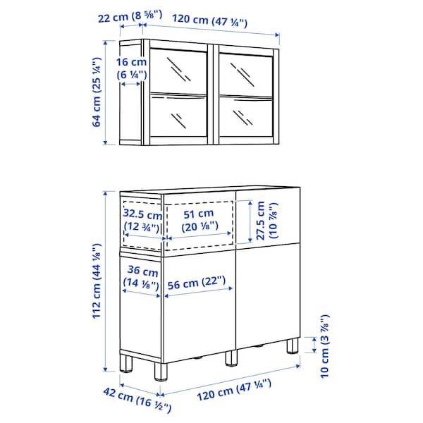 BESTÅ Storage combination w doors/drawers, white Lappviken/Stubbarp/light grey-beige clear glass, 120x42x213 cm
