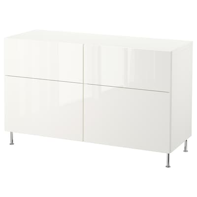 BESTÅ Storage combination w doors/drawers, white/Selsviken/Stallarp high-gloss/white, 120x40x74 cm